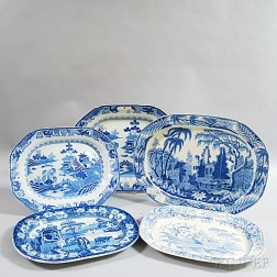 Five Blue and White Transfer-decorated Platters