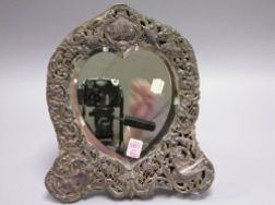 William Comyns British Silver Heart-shaped Table Mirror.