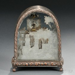 Continental Silver-plated Diorama-form Clock