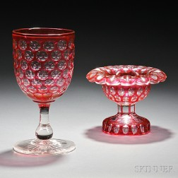 Ruby-to-Clear Glass Chalice and Compote
