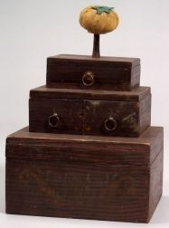 Three-Tier Grain Painted Gilt Stenciled Sewing Box