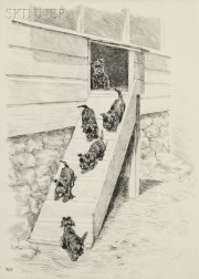 Marguerite Kirmse (American, 1885-1954)      Two Scenes with Puppies:  Gangway!
