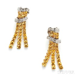 18kt Gold, Yellow Sapphire, and Diamond Earpendants