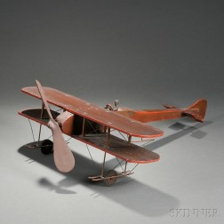 Red-painted Wood Copper and Twisted Wire Biplane