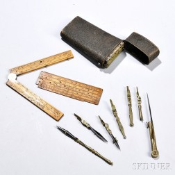 Shagreen-cased Brass and Steel Drafting Tool Set