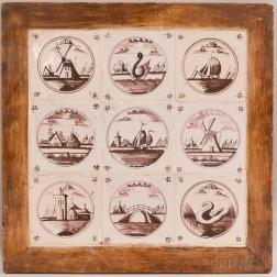 Nine Dutch Delft Manganese Pictorial Tiles in a Common Frame