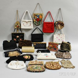 Group of Twenty-six Mostly Beaded and Embroidered Handbags