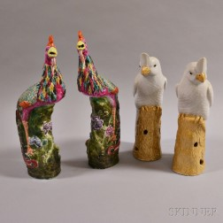 Two Pairs of Famille Rose Porcelain Birds