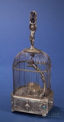 Rare Silver Double-Singing Bird Cage with Timepiece by Karl Griesbaum