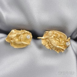 18kt Gold and Diamond Cuff Links