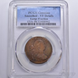 1807 Large Fraction Draped Bust Cent,