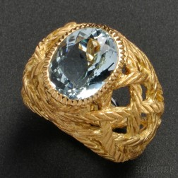 18kt Gold and Aquamarine Ring, Buccellati