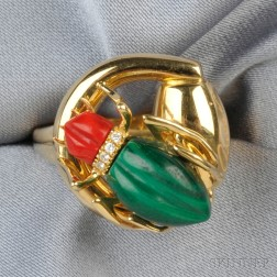 18kt Gold, Hardstone, and Diamond Insect Ring, Gucci
