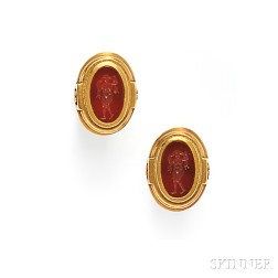 18kt Gold and Hardstone Intaglio Cuff Links, Kieselstein-Cord