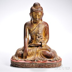 Inlaid and Giltwood Buddha