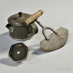 Tin Spout Cup and Cookie or Cracker Cutter