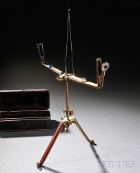 Early Brass and Mahogany Sighting Instrument