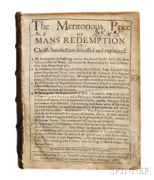 Pynchon, William (1590-1662) Meritorious Price of Man's Redemption