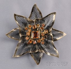 18kt Gold, Silver and Citrine Flower Brooch, Marilyn Cooperman