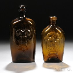 Two Amber Blown-molded Pictorial Glass Flasks