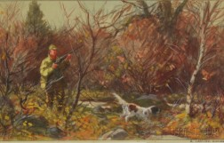 Aiden Lassell Ripley (American, 1896-1969)      Hunter and Dog in Autumn Woods.