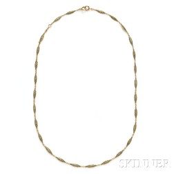 Edwardian 18kt Gold and Enamel Chain