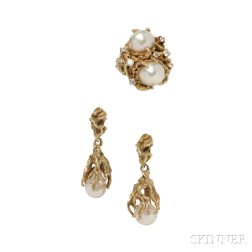 14kt Gold and Cultured Pearl Ring and Earrings