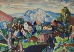 Leighton R. Cram (American, 1895-1981)      Landscape with Houses and Hills.