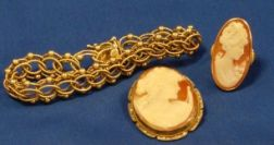 14kt Gold Bracelet, 14kt Gold Mounted Carved Shell Cameo Ring, and Cameo Brooch.