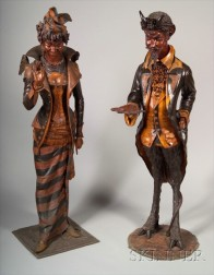 Pair of Fine Venetian Carved and Ebonized Hall Figures of an Elegant Devil and his C