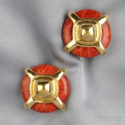 18kt Gold and Jasper Earclips