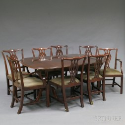 Chippendale-style Mahogany Double-pedestal Dining Table and Eight Chairs