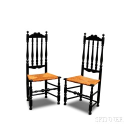 Pair of Black-painted Bannister-back Side Chairs