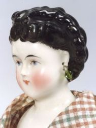 Black Fancy-haired China Shoulder Head Doll