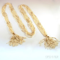 14kt Gold and Seed Pearl Lariat