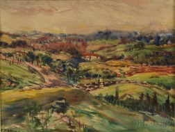 Leighton R. Cram (American, 1895-1981)      Landscape with Hills and House.