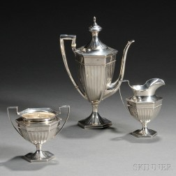 Three-piece Black, Starr & Frost Sterling Silver Bachelor's Tea Service