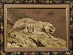 Framed Japanese Embroidery of a Tiger