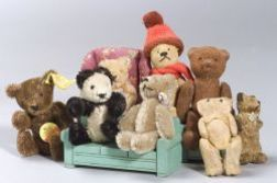 Group of Small Bears and Dollhouse Furniture