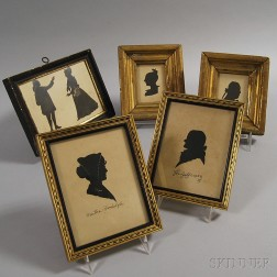 Five Small Framed Silhouette Portraits