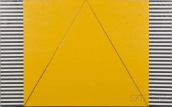 Terri Priest (American, 1928-2014)      Four-part Work: Yellow, Black, and White Geometric Shapes