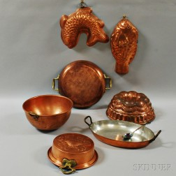 Two Copper Pans, a Spoon, and Five Copper Food Molds.    Estimate $200-300