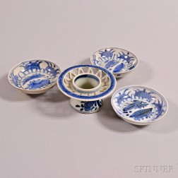 Four Canton Export Blue and White Porcelain Items