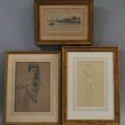 Three Framed Drawings:      William McGregor Paxton (American, 1869-1941), Standing Nude