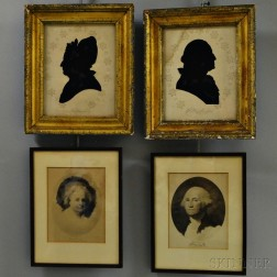 Pair of Framed Reverse-painted Silhouettes and a Pair of W. Elson & Co. Martha and George Washington Prints.     Estimate $200-300