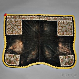Rare Iroquois Beaded Cloth Saddle Blanket