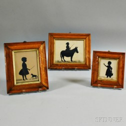 Three Framed Silhouettes of Children
