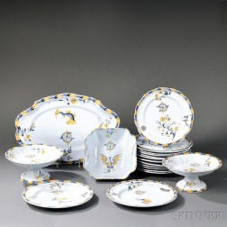 Nineteen Emile Galle Faience Dinnerware Items