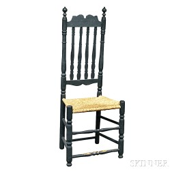 Black-painted Banister-back Side Chair