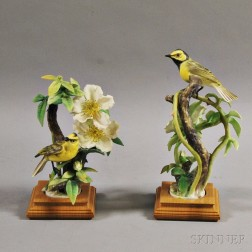 Pair of Dorothy Doughty Royal Worcester Porcelain Hooded Warblers